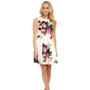 Vince Camuto pleated rose bouquet floral dress